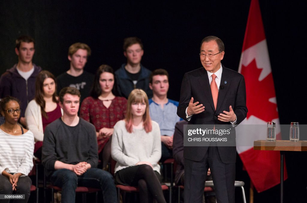 United Nations Secretary-General Ban Ki-moon speaks at Glebe Collegiate Institute in Ottawa, Ontario on February 11, 2016. / AFP / (Chris Roussakis/AFP) / Chris Roussakis