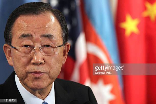 United Nations SecretaryGeneral Ban Kimoon speaks to the media following a Security Council meeting in which the crisis situation in both Syria and...