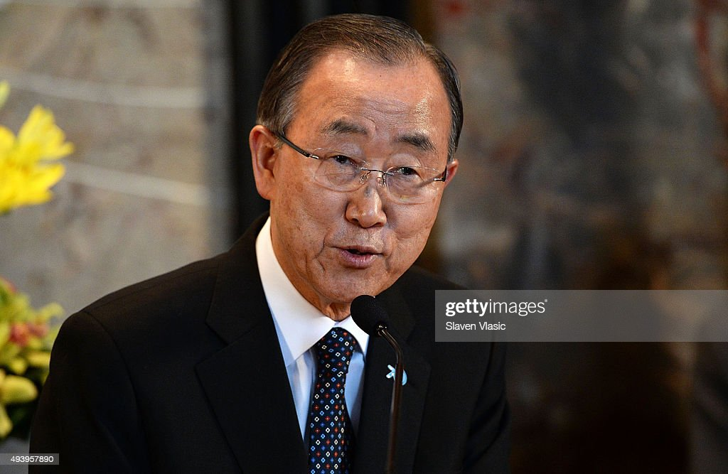 United Nations Secretary-General Ban Ki-moon visits The Empire State Building on October 23, 2015 in New York City.