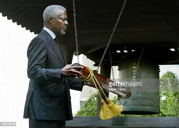 United Nations SecretaryGeneral Kofi Annan rings the Japanese Peace Bell at UN headquarters in observance of the International Day of Peace September...