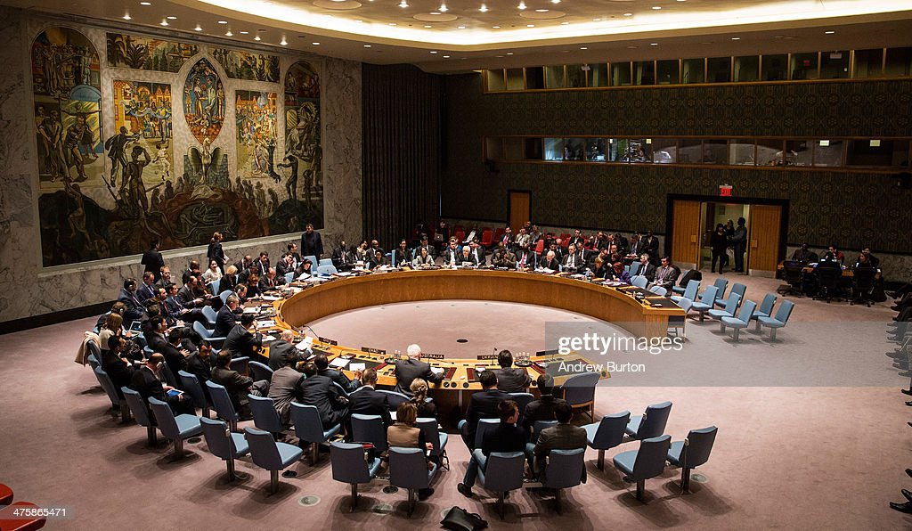 United Nations Security Council meeting takes place on March 1 2014 in New York City Russia's upper parliament approved military action in Ukraine...