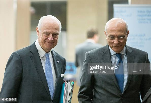 United Nations Special Envoy for Syria Staffan de Mistura and and his deputy Ramzy Ezzeldin Ramzy arrive for a meeting of IntraSyria peace talks with...