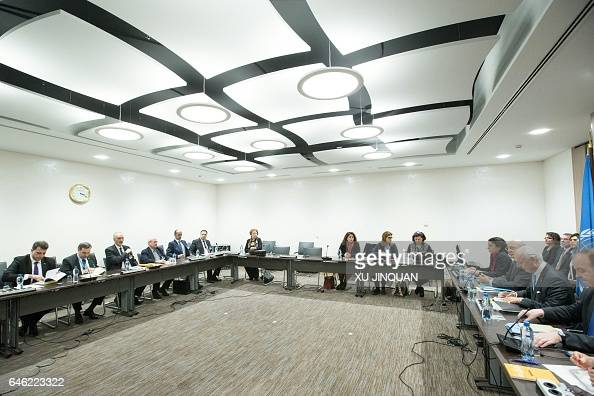 United Nations Special Envoy for Syria Staffan de Mistura and Syrian Permanent Representative to the U and head of the government delegation Bashar...