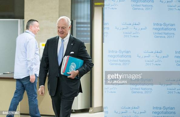 United Nations Special Envoy for Syria Staffan de Mistura arrives for a meeting of IntraSyria peace talks with a Syrian government delegation at the...