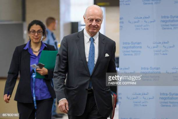 United Nations Special Envoy for Syria Staffan de Mistura arrives for a meeting with Syria's government delegation during Syria peace talks in Geneva...