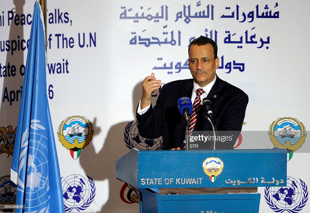 United Nations special envoy to Yemen, Ismail Ould Cheikh Ahmed, speaks during a press conference in Kuwait City on May 26, 2016, calling for an economic rescue plan for the war-battered and impoverished Arab nation. Even before the war escalated in 2015, Yemen was one of the poorest nations on earth with unemployment of more than 40 percent and over half its 25-million population living under the poverty line. / AFP / STR