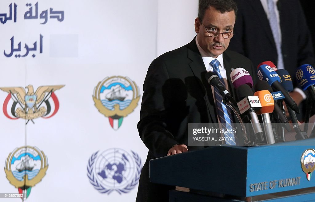 United Nations special envoy to Yemen, Ismail Ould Cheikh Ahmed, speaks during a press conference at the ministery of information in Kuwait City on June 30, 2016. / AFP / YASSER