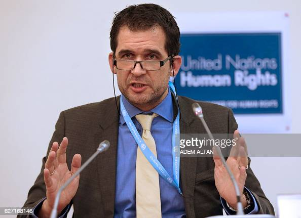 United Nations Special rapporteur on torture Nils Melzer gestures as he speaks during a press conference in Ankara on December 2 2016 Turkey is under...