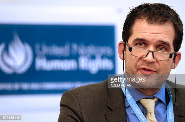 United Nations Special rapporteur on torture Nils Melzer speaks during a press conference in Ankara on December 2 2016 Turkey is under a state of...