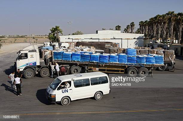 A United Nations truck carrying supplies arrives in Rafah town after crossing through the Kerem Shalom crossing between Israel and the southern Gaza...