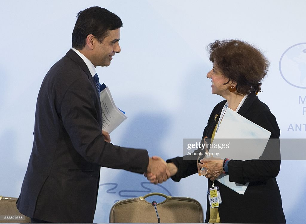 United Nations Under-Secretary-General and High Representative for the Least Developed Countries, Gyan Chandra Acharya (L) and Deputy Secretary of Turkish Foreign Ministery Ayse Sinirlioglu (R) attends the ending session during the Midterm Review of the Istanbul Programme of Action for the Least Developed Countries in Antalya, Turkey on May 29, 2016.