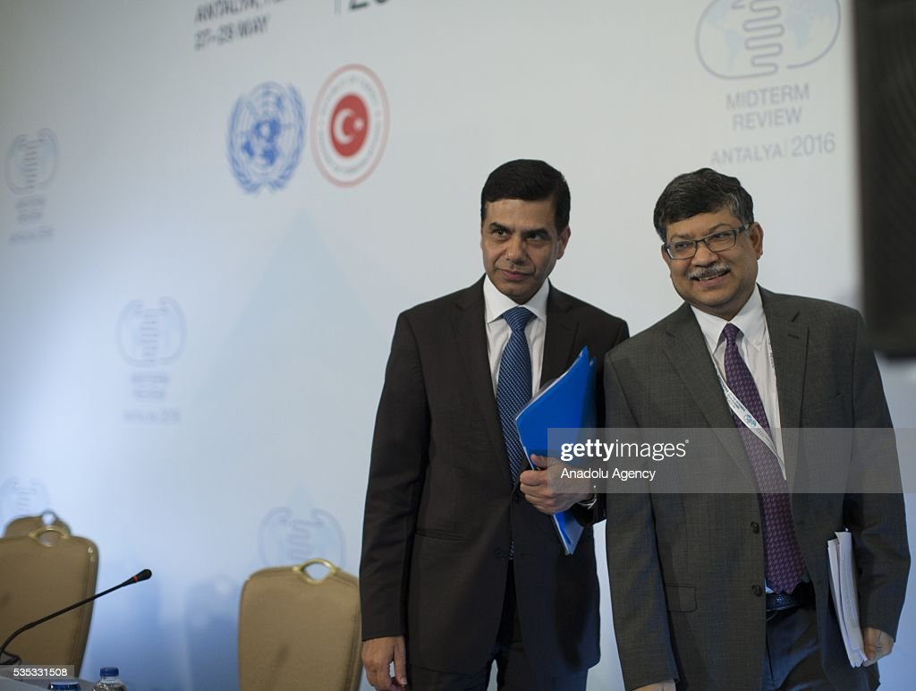 United Nations Under-Secretary-General and High Representative for the Least Developed Countries, Gyan Chandra Acharya (L) and Permanent Representative of Bangladesh to the United Nations, Masud Bin Momen are seen following a joint press conference after the Midterm Review of the Istanbul Programme of Action for the Least Developed Countries in Antalya, Turkey on May 29, 2016.