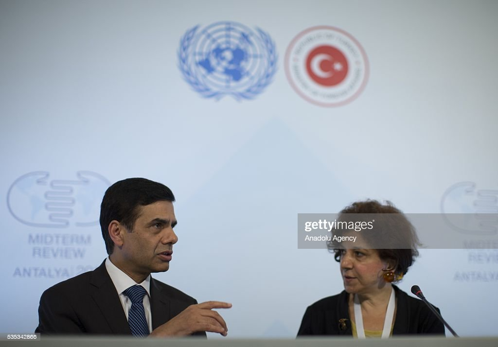United Nations Under-Secretary-General and High Representative for the Least Developed Countries, Gyan Chandra Acharya and Turkish Foreign Ministry Deputy Secretary Ayse Sinirlioglu (R) hold a joint press conference after the Midterm Review of the Istanbul Programme of Action for the Least Developed Countries in Antalya, Turkey on May 29, 2016.