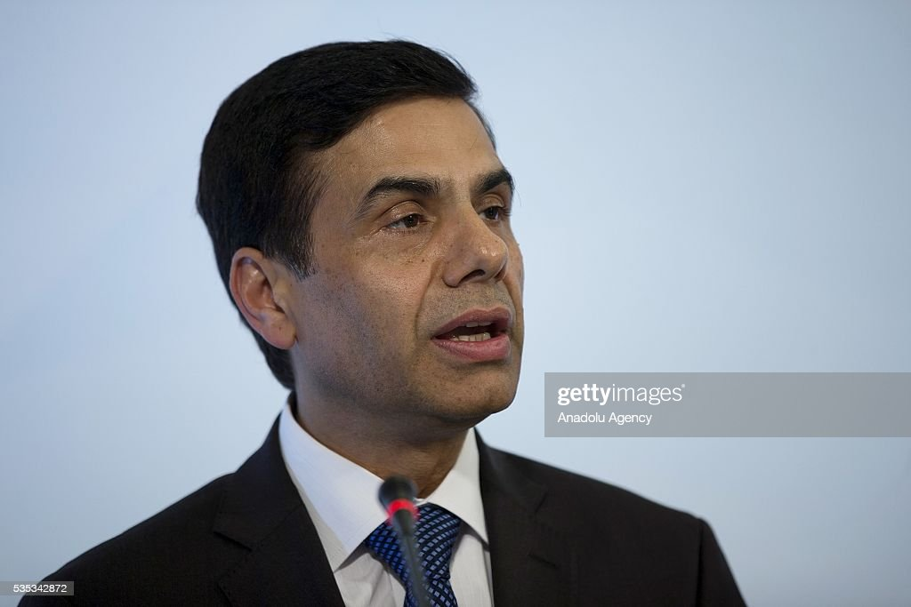 United Nations Under-Secretary-General and High Representative for the Least Developed Countries, Gyan Chandra Acharya delivers a speech during a joint press conference after the Midterm Review of the Istanbul Programme of Action for the Least Developed Countries in Antalya, Turkey on May 29, 2016.