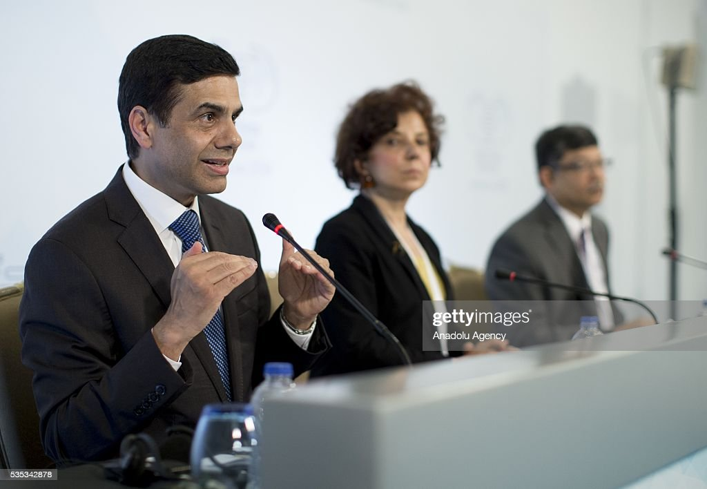 United Nations Under-Secretary-General and High Representative for the Least Developed Countries, Gyan Chandra Acharya (L) delivers a speech during a joint press conference after the Midterm Review of the Istanbul Programme of Action for the Least Developed Countries in Antalya, Turkey on May 29, 2016.