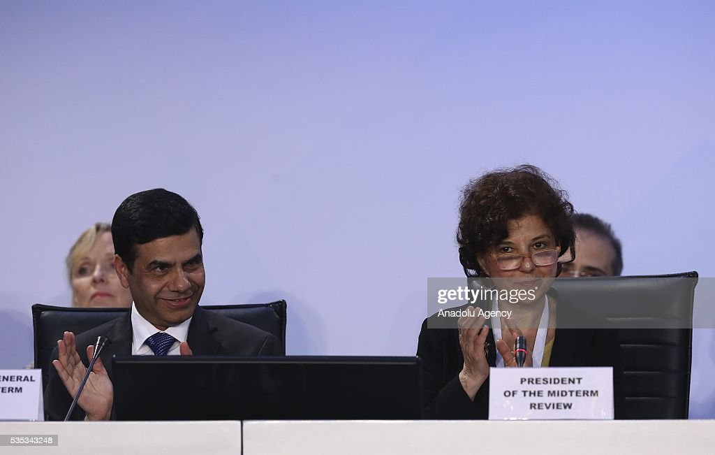 United Nations Under-Secretary-General and High Representative for the Least Developed Countries, Gyan Chandra Acharya and Turkish Foreign Ministry Deputy Secretary Ayse Sinirlioglu (R) attend the last session of the Midterm Review of the Istanbul Programme of Action for the Least Developed Countries in Antalya, Turkey on May 29, 2016.