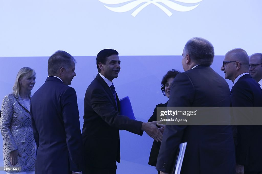 United Nations Under-Secretary-General and High Representative for the Least Developed Countries, Gyan Chandra Acharya (C) attends the last session of the Midterm Review of the Istanbul Programme of Action for the Least Developed Countries in Antalya, Turkey on May 29, 2016.