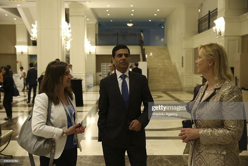 United Nations Under-Secretary-General and High Representative for the Least Developed Countries, Gyan Chandra Acharya (C) is seen after the last session of the Midterm Review of the Istanbul Programme of Action for the Least Developed Countries in Antalya, Turkey on May 29, 2016.