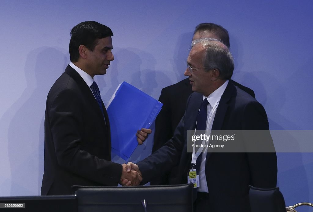 United Nations Under-Secretary-General and High Representative for the Least Developed Countries, Gyan Chandra Acharya (L) attends the last session of the Midterm Review of the Istanbul Programme of Action for the Least Developed Countries in Antalya, Turkey on May 29, 2016.