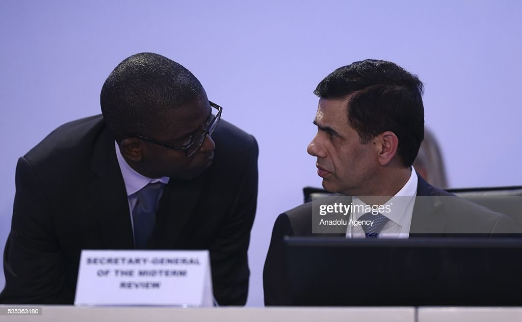 United Nations Under-Secretary-General and High Representative for the Least Developed Countries, Gyan Chandra Acharya (R) attends the last session of the Midterm Review of the Istanbul Programme of Action for the Least Developed Countries in Antalya, Turkey on May 29, 2016.