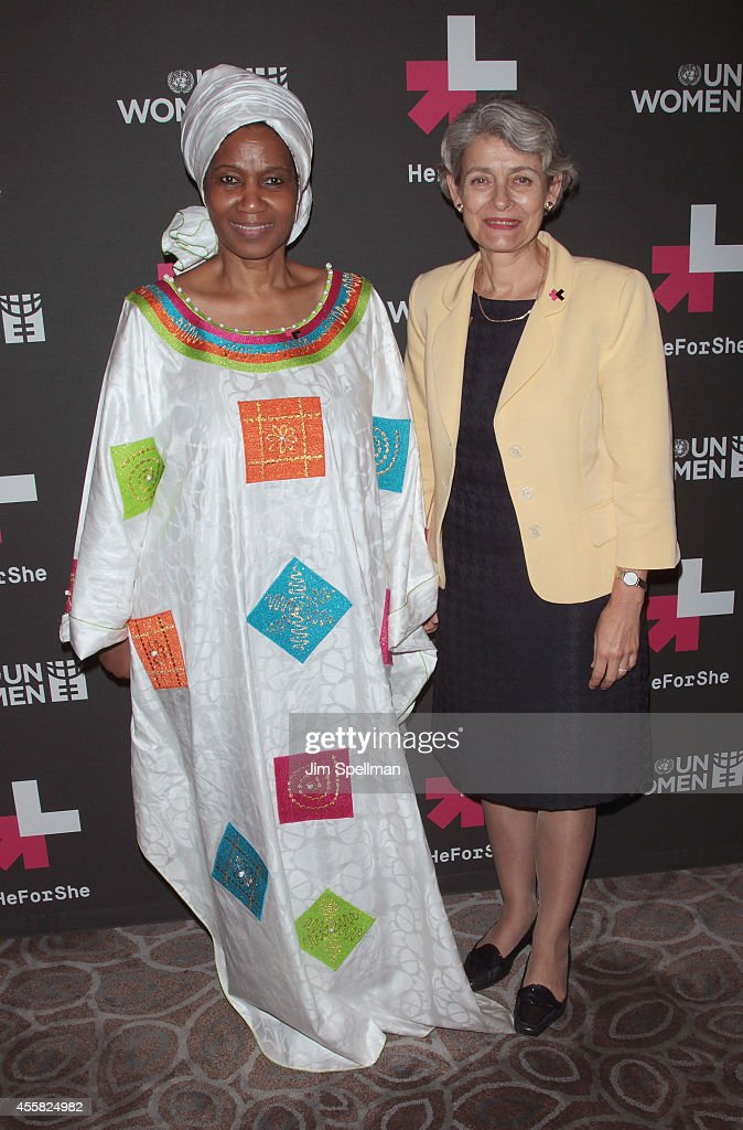 United Nations Under-Secretary-General and the Executive Director of UN Women <a gi-track='captionPersonalityLinkClicked' href=/galleries/search?phrase=Phumzile+Mlambo-Ngcuka&family=editorial&specificpeople=549700 ng-click='$event.stopPropagation()'>Phumzile Mlambo-Ngcuka</a> and Director-General of UNESCO <a gi-track='captionPersonalityLinkClicked' href=/galleries/search?phrase=Irina+Bokova&family=editorial&specificpeople=6324408 ng-click='$event.stopPropagation()'>Irina Bokova</a> attend the UN Women's 'HeForShe' VIP After Party at The Peninsula Hotel on September 20, 2014 in New York City.