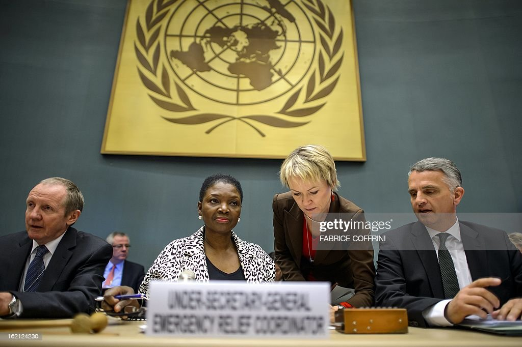 United Nations Undersecretary-General for Humanitarian Affairs (OCHA) Valerie Amos (2L) flanked by European Commission Directorate-General for Humanitarian Aid and Civil Protection (ECHO) Claus Sorensen (L) and Swiss Foreign Minister Didier Burkhalter attend a humanitarian forum for Syrian held at the United Nations Office on February 19, 2013 in Geneva. More than four million people inside Syria are in desperate need of aid, up from 2.5 million in September, the UN's humanitarian agency said today. AFP PHOTO / FABRICE COFFRINI