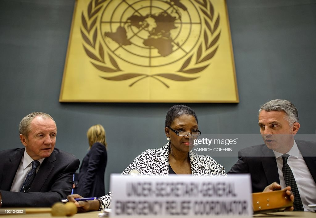 United Nations Undersecretary-General for Humanitarian Affairs (OCHA) Valerie Amos (C) sits next to European Commission Directorate-General for Humanitarian Aid and Civil Protection (ECHO) Claus Sorensen (L) and Swiss Foreign Minister Didier Burkhalter as they attend a Syrian Humanitarian Forum held at the United Nations Office on February 19, 2013 in Geneva. The number of Syrians who have fled their conflict-ravaged homeland has topped 850,000, the UN refugee agency reported on FEBRUARY