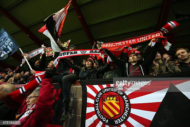 United Of Manchester fans during the friendly match between FC United Of Manchester and Benfica at Broadhurst Park on May 29 2015 in Moston England