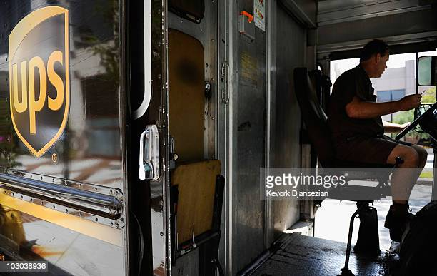 United Parcel Service driver delivers packages on July 22 2010 in Glendale California UPS said its second quarter profit nearly doubled posting a net...
