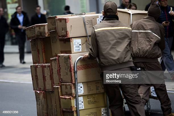 United Parcel Service Inc drivers deliver packages on Cyber Monday in New York US on Monday Nov 30 2015 Online sales on Cyber Monday may rise at...