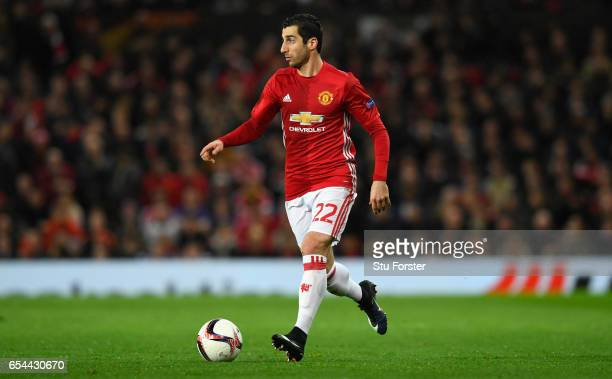 United player Henrikh Mkhitaryan in action during the UEFA Europa League Round of 16 second leg match between Manchester United and FK Rostov at Old...