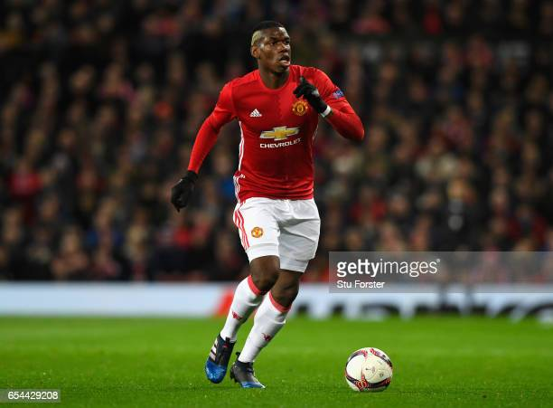 United player Paul Pogba in action during the UEFA Europa League Round of 16 second leg match between Manchester United and FK Rostov at Old Trafford...