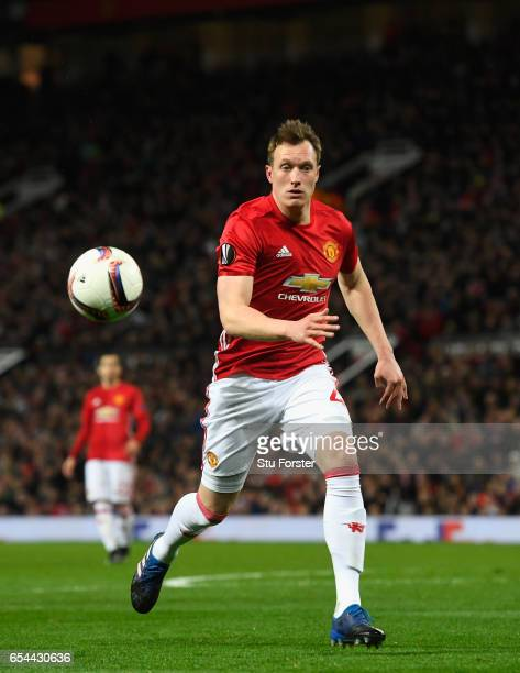 United player Phil Jones in action during the UEFA Europa League Round of 16 second leg match between Manchester United and FK Rostov at Old Trafford...