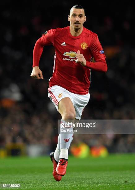 United player Zlatan Ibrahimovic in action during the UEFA Europa League Round of 16 second leg match between Manchester United and FK Rostov at Old...