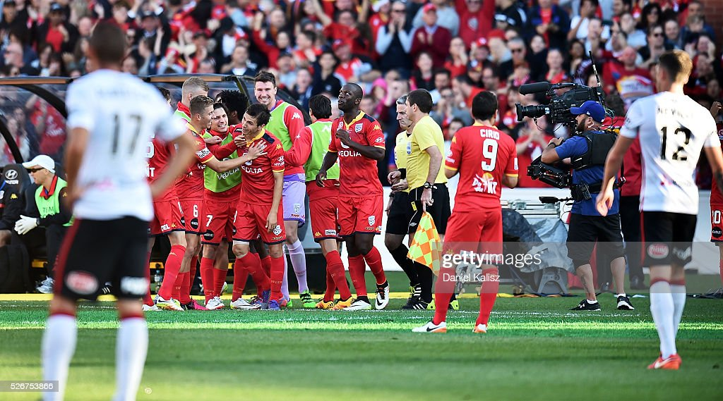 United players celebrate after scoring a goal during the 2015/16 A-League Grand Final match between Adelaide United and the Western Sydney Wanderers at Adelaide Oval on May 1, 2016 in Adelaide, Australia.