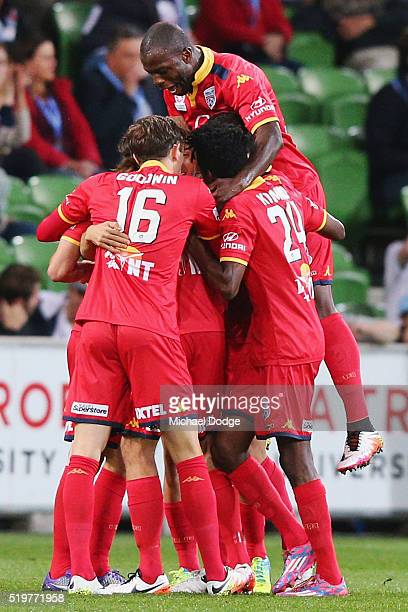 United players celebrates a goal by Isaias of United during the round 27 ALeague match between the Melbourne City FC and Adelaide United at AAMI Park...