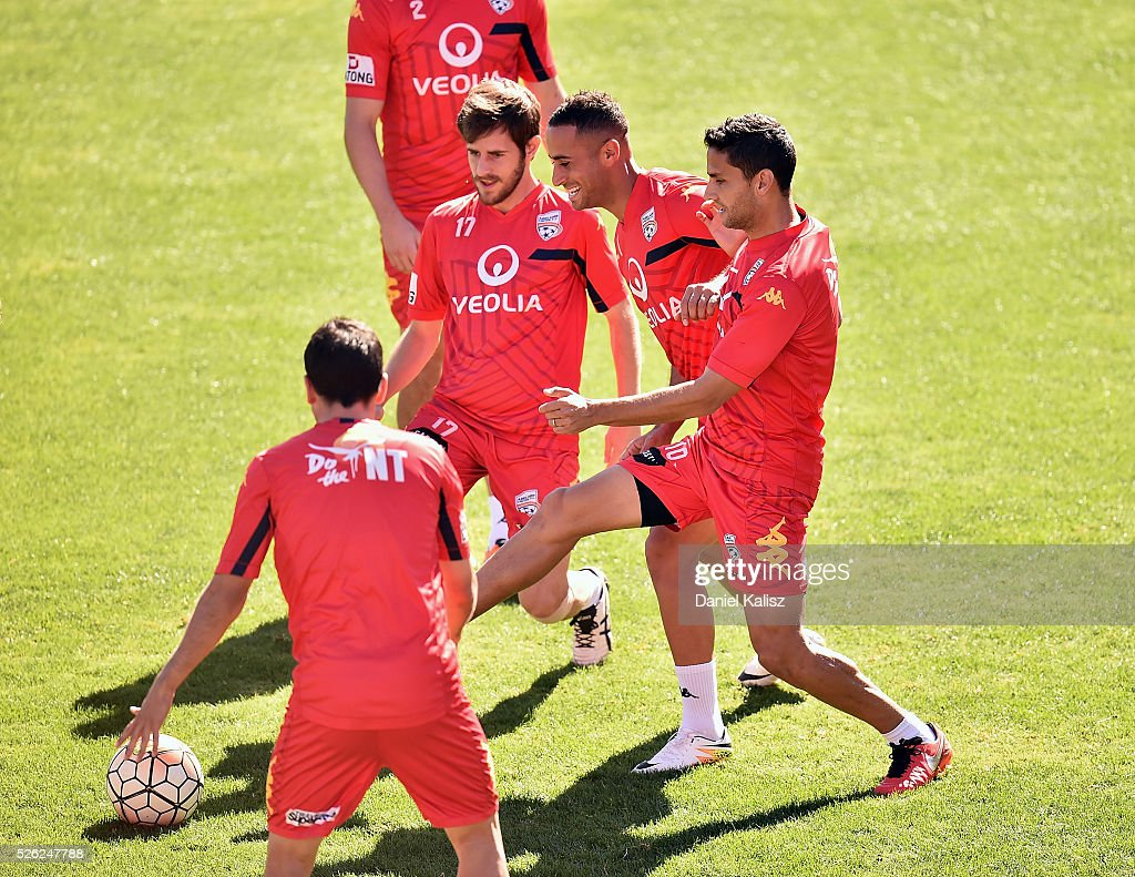 United players warm up during an Adelaide United A-League training session at Coopers Stadium on April 30, 2016 in Adelaide, Australia.