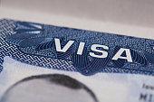 United state visa stamp macro in passport page
