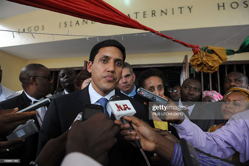 United States Agency for International Development (USAID) Adminstrator Rajiv Shah speaks to journalists at the Lagos Island Maternity Hospital after an inspection of health facilities sponsored by...