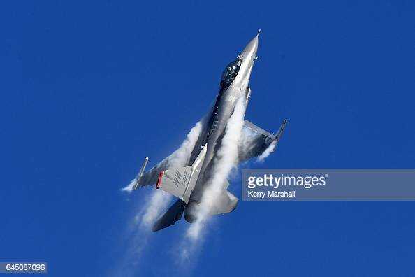 United States Air Force F16 takes part in flying displays at the 2017 Air Tattoo at RNZAF Base Ohakea on February 25 2017 in Ohakea New Zealand The...