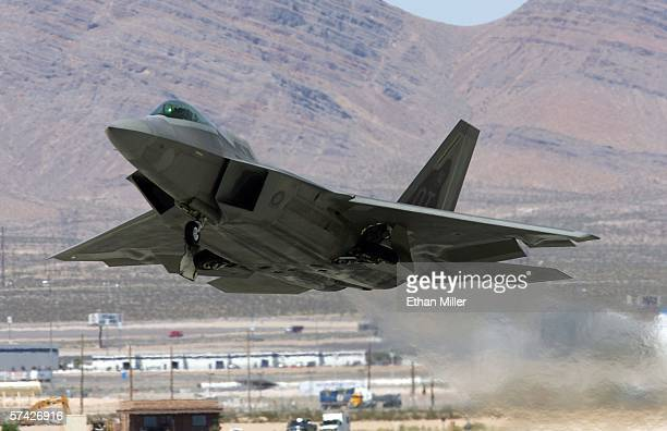 United States Air Force F22 Raptor takes off from Nellis Air Force Base while participating in the Joint Expeditionary Force Experiment 2006 April 25...