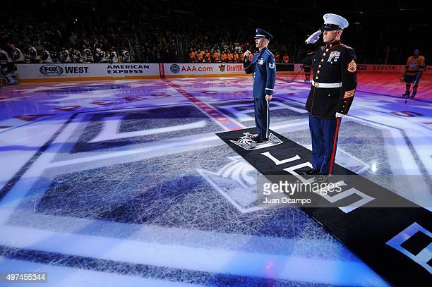 United States Air Force TSgt Daniel Plaster sings the national anthem prior to the game between the Anaheim Ducks and the Arizona Coyotes on November...