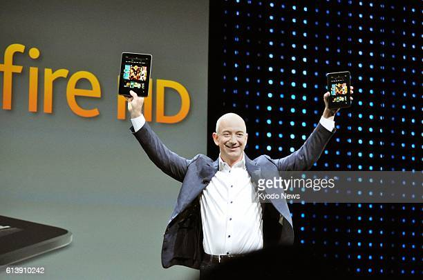 LOS ANGELES United States Amazoncom Inc CEO Jeff Bezos releases the Kindle Fire HD tablet during an event in Santa Monica California on Sept 6 2012