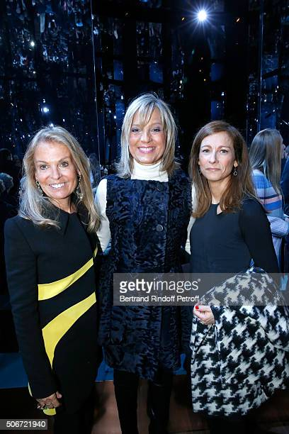 United States Ambassador to France Jane D Hartley Helene Arnault and Violonist Anne Gravoin attend the Christian Dior Spring Summer 2016 show as part...