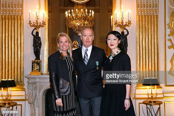 United States Ambassador to France Jane D Hartley Michael Keaton and French minister of Culture and Communication Fleur Pellerin attend Actor Michael...