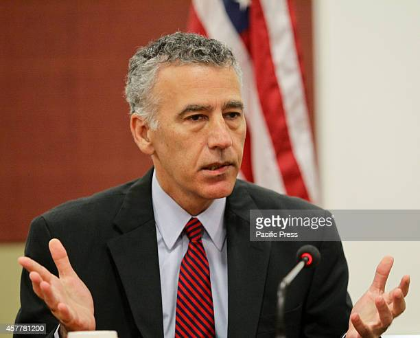 United States Ambassador to the Philippines Philip Goldberg gestures while answering the questions from journalists on issues regarding the Visiting...