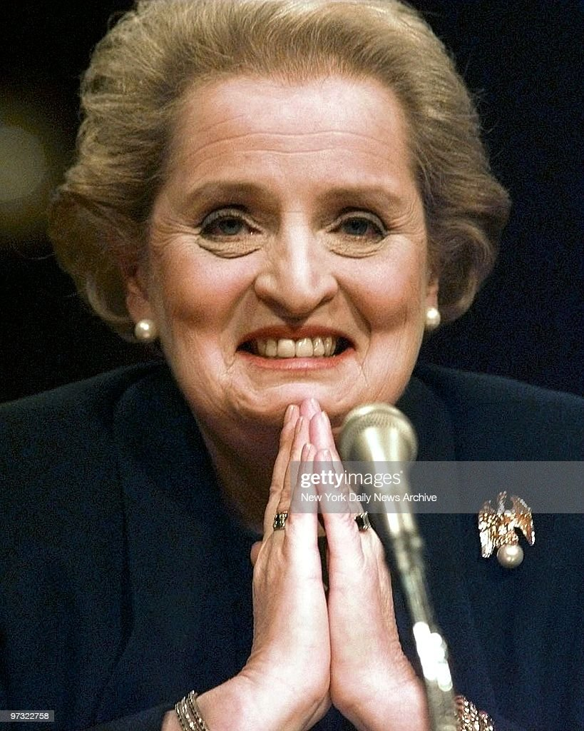 United States Ambassador to the United Nations <a gi-track='captionPersonalityLinkClicked' href=/galleries/search?phrase=Madeleine+Albright&family=editorial&specificpeople=211429 ng-click='$event.stopPropagation()'>Madeleine Albright</a> smiles at the Senate Foreign Relations Committee hearing on her appointment to be Secretary of State.