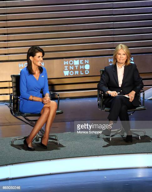 United States Ambassador to the United Nations Nikki Haley and news anchor Greta Van Susteren speak on stage at the 8th Annual Women In The World...