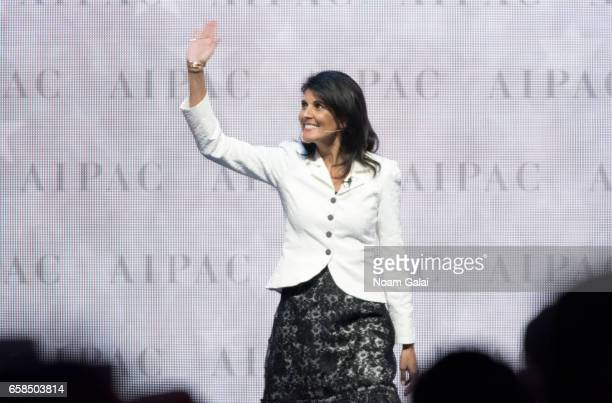 United States Ambassador to the United Nations Nikki Haley speaks onstage at the AIPAC 2017 Convention on March 27 2017 in Washington DC