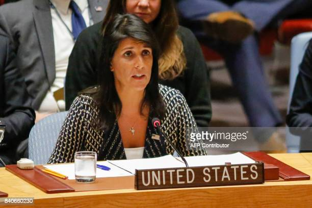 United States Ambassador to the United Nations Nikki Haley speaks at the UN Security Council emergency meeting over North Korea's latest missile...